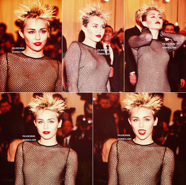 ". 06/05/2013 : Miley �tait pr�sente � un des plus grand��v�nement fashion de l'ann�e : le Met Gala 2013 � New York sur la place du�""Metropolitan Museum of Art"". Le th�me �tait le punk couture. �Miley, portait du Marc Jacobs avec une coiffure ''h�risson'' ! Alors, top ou flop pour vous ?� ."